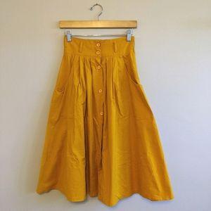 EGO FASHIONS Vtg Mustard A-line Midi Skirt